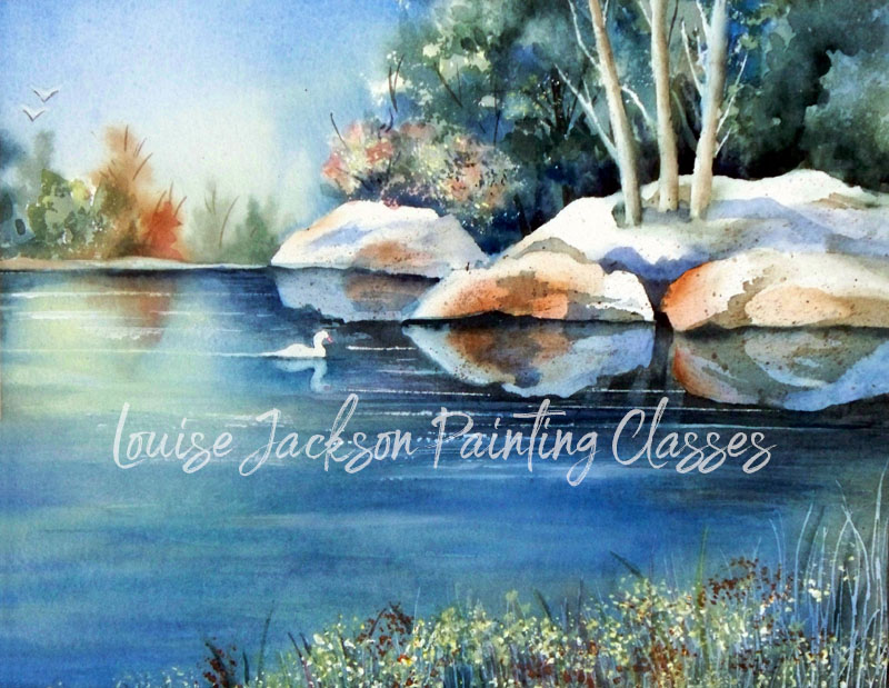 watercolor painting pond with duck and trees