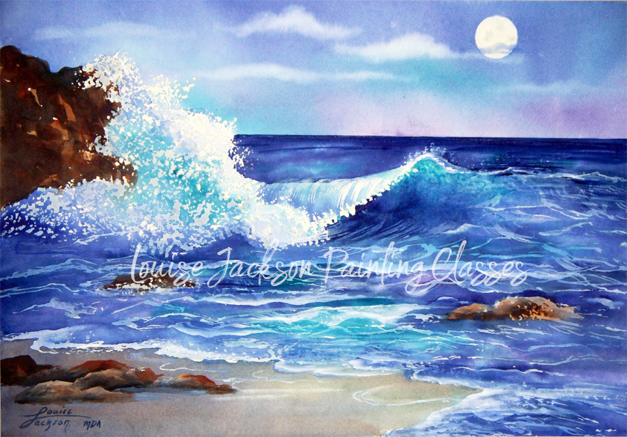 Moon Over the Ocean watercolor painting by Louise Jackson.