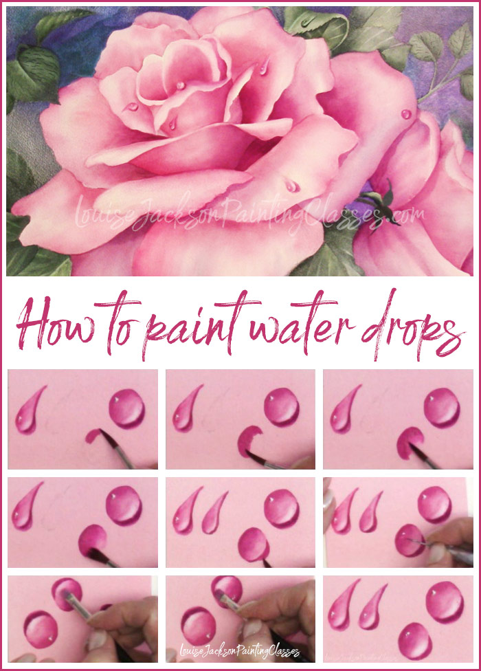Step-by-step process for painting water drops using watercolors or acrylics.