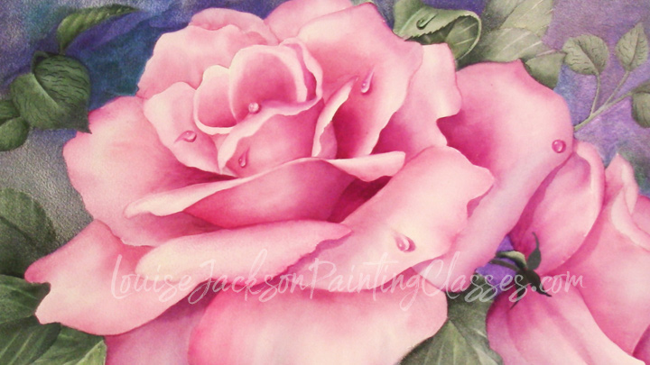 This lovely watercolor rose painting is enhanced by the addition of water drops.