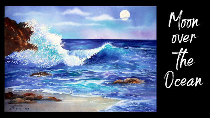 Moon over the Ocean Watercolor Painting