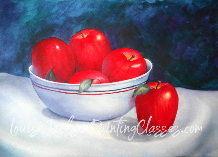 Apples in the Kitchen watercolor painting lesson by Louise Jackson