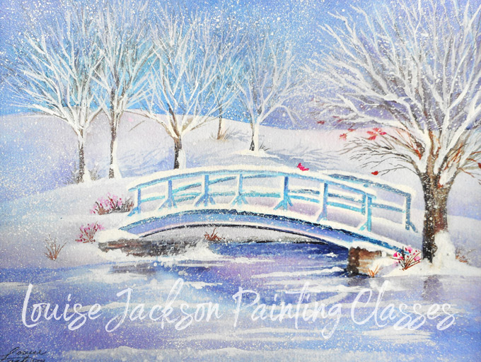 Bridge in Snow watercolor painting by Louise Jackson