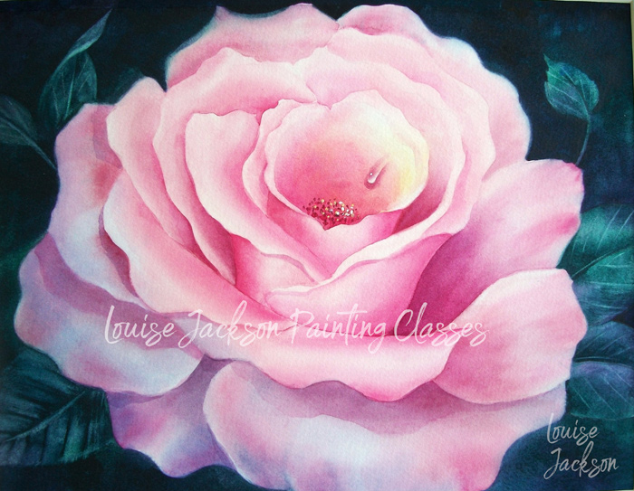 Classic Pink Rose watercolor painting class with master decorative artist Louise Jackson