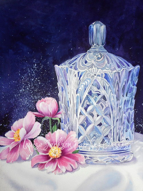 Crystal and Blossoms Watercolor Painting Lesson by Louise Jackson Painting Classes