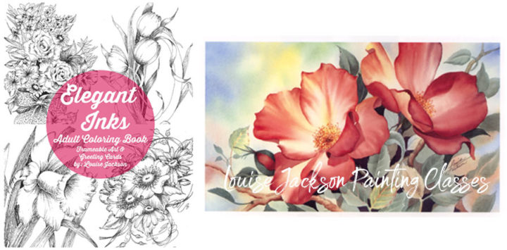 Elegant Inks Coloring Book and Wild Roses Painting by Louise Jackson