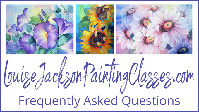 Louise Jackson painting classes frequently asked questions image.