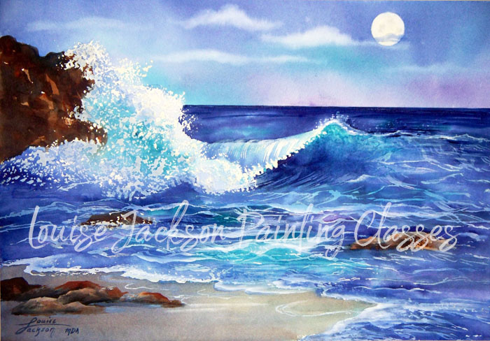 Moon over the Ocean watercolor painting by Louise Jackson