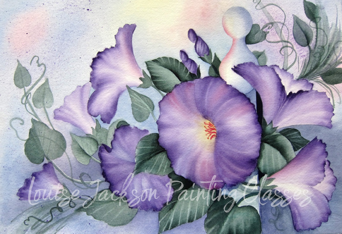Purple Morning Glories painted on a pastel background with a fence post by Louise Jackson