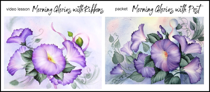 Morning Glories with Ribbon Video Lesson Image and Morning Glories with Fence Post Packet Image
