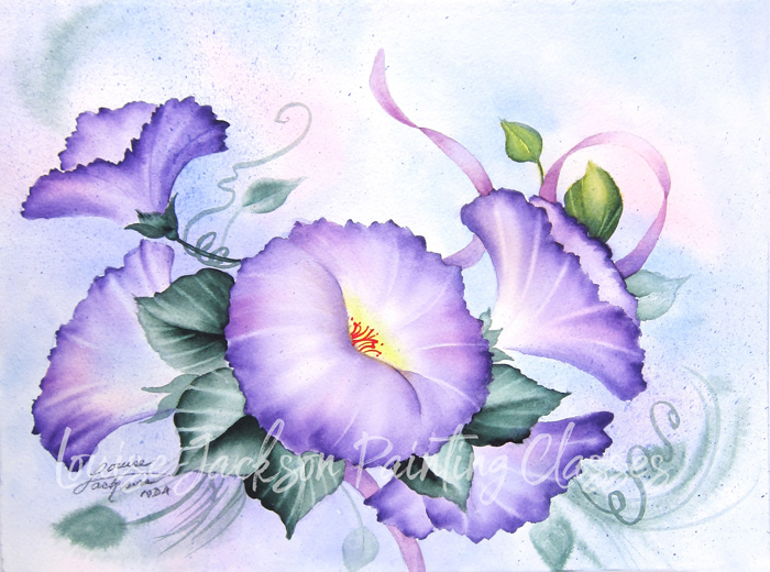 Morning Gloried painting in watercolor or acrylics by master decorative artist Louise Jackson.
