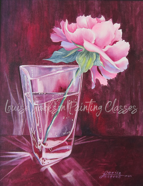Peony in Glass watercolor painting by Louise Jackson. Online video painting classes.