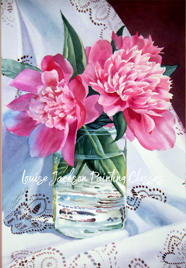 Pink Peonies in a glass vase set on a lace cloth.