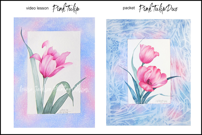 Tulip watercolor and acrylic paintings. Online painting classes with Louise Jackson.