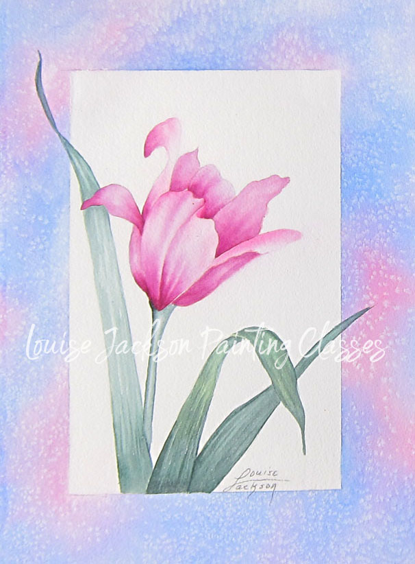 Pink Tulip watercolor and acrylic painting lessons image.