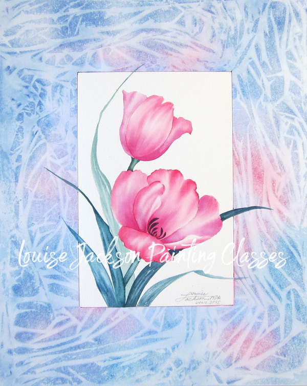 Two pink tulips painted using watercolors with a pastel mat finish.
