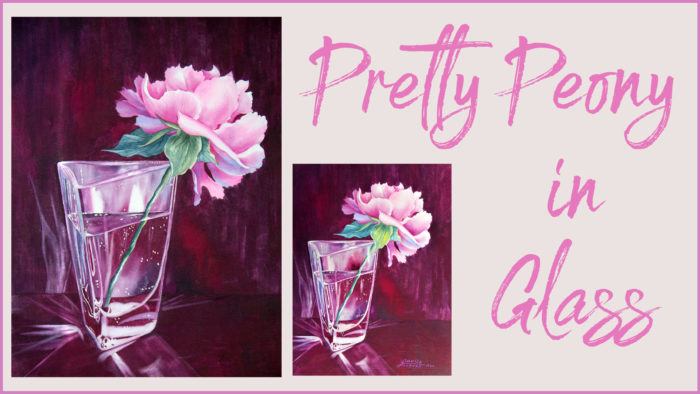 Peony in Glass watercolor painting