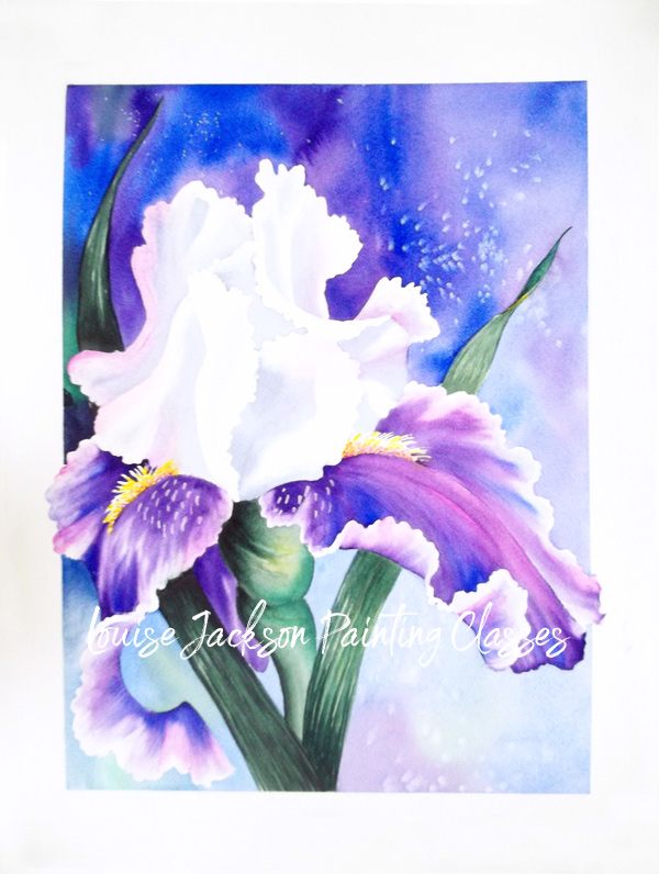 Purple and white iris painting done in watercolors or acrylics. Online class with Louise Jackson.