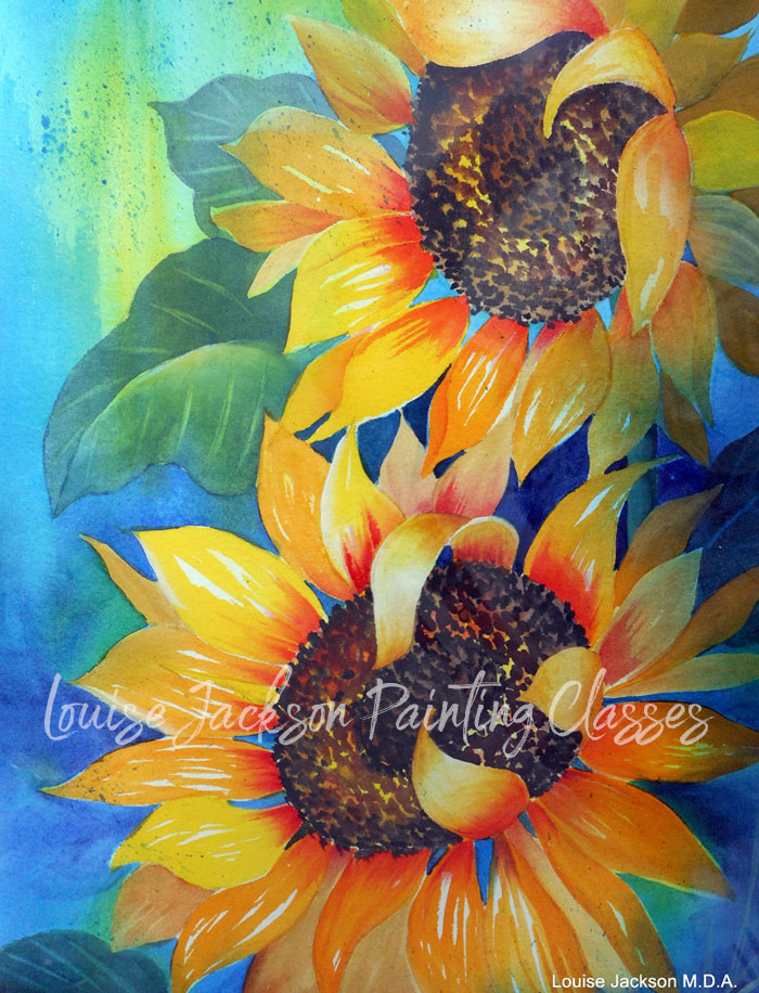Sunflower Duo watercolor painting online lesson image.