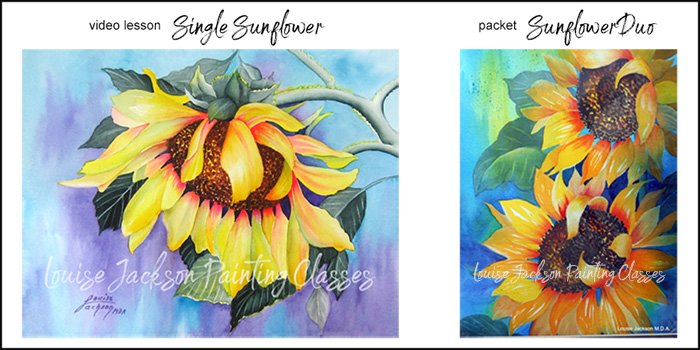 Single Sunflower watercolor and acrylic painting lesson and Sunflower Duo painting packet image.