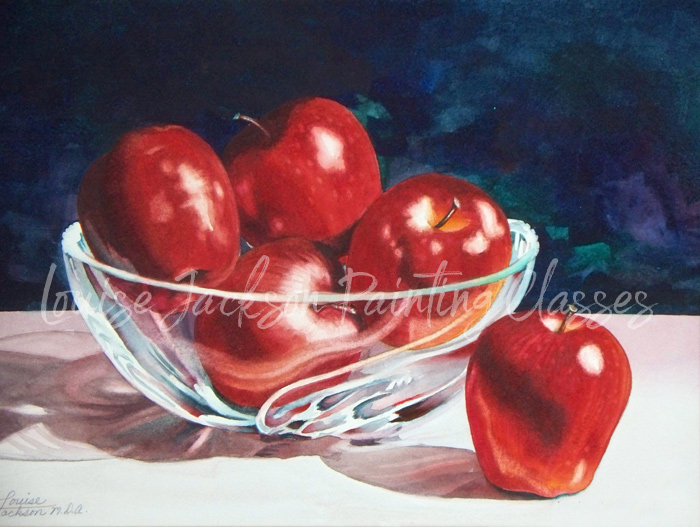 Apples in Crystal Bowl watercolor painting online lesson image