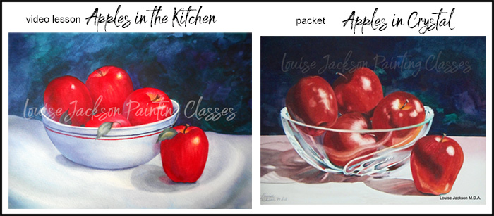 Apples in bowls watercolor paintings