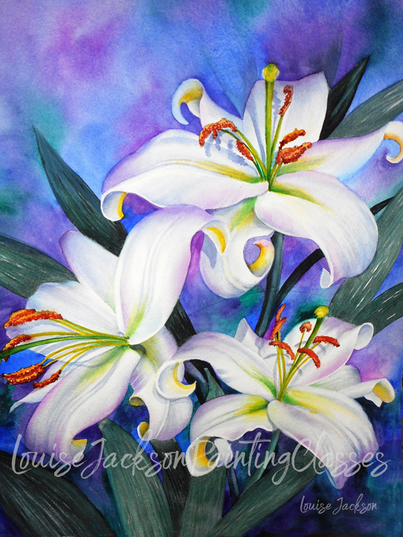 Beautiful white lily trio watercolor painting by Louise Jackson, M.D.A.