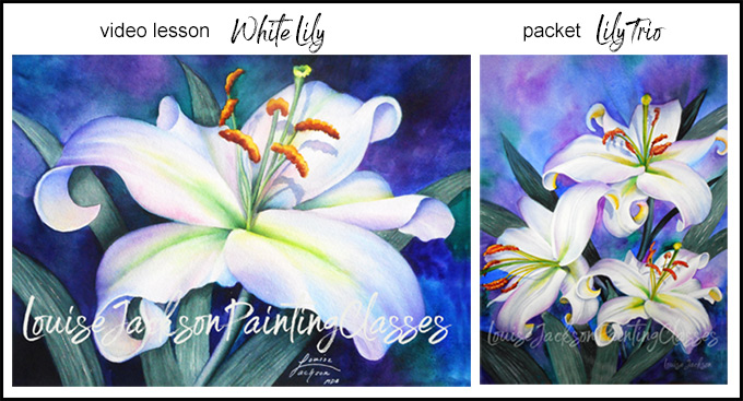 Online painting classes - white lily and lily trio printable painting packet