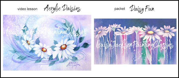 Use acrylic paint to create both of these pretty daisy paintings using watercolor techniques.