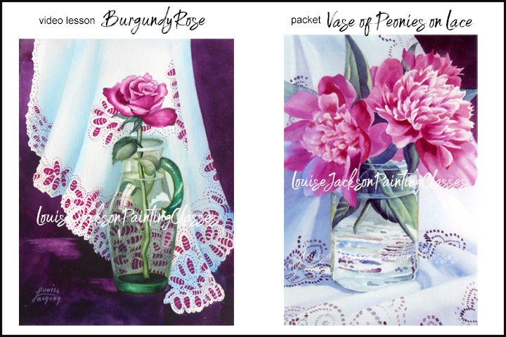 Burgundy Rose in Glass on Lace and Vase of Peonies in Glass watercolor painting class images
