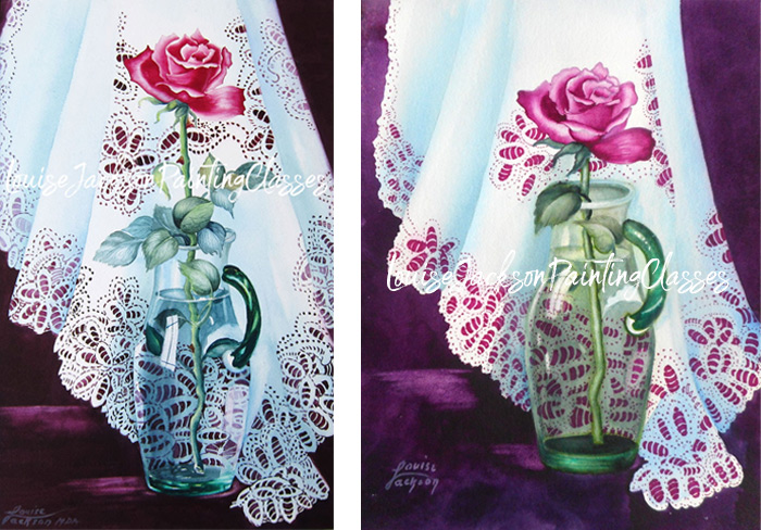 Watercolor paintings of a pink rose in a green glass vase on a piece of white lace.