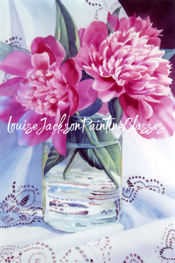 Learn how to paint a clear glass vase filled with pretty pink peonies all set on a white piece of lace.