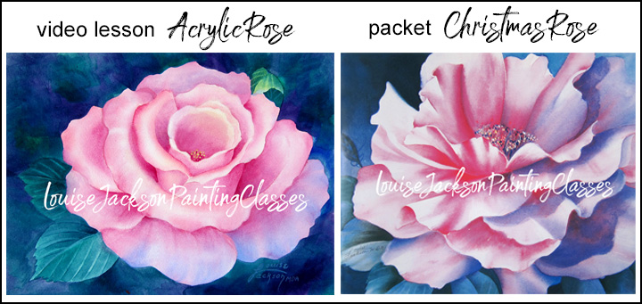 video lesson image of acrylic rose and packet image of Christmas rose
