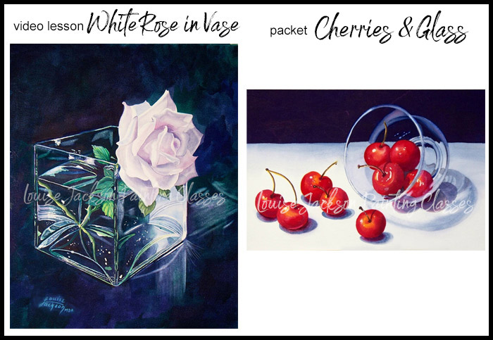 Video lesson image of white rose in a square vase and packet image of cherries in clear glass bowl watercolor paintings
