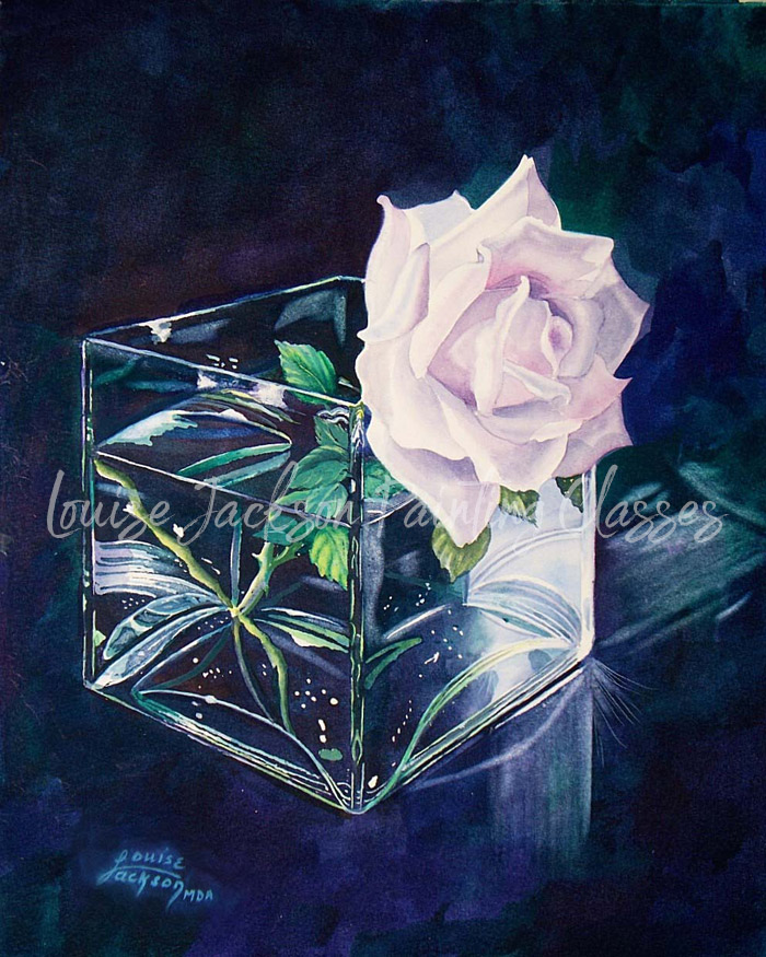 White Rose in a Clear Class Vase on a dark blue and green watercolor background.