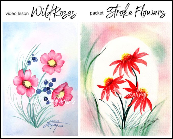Watercolor painting lesson images - Wild Roses and Berries and Stroke Flowers