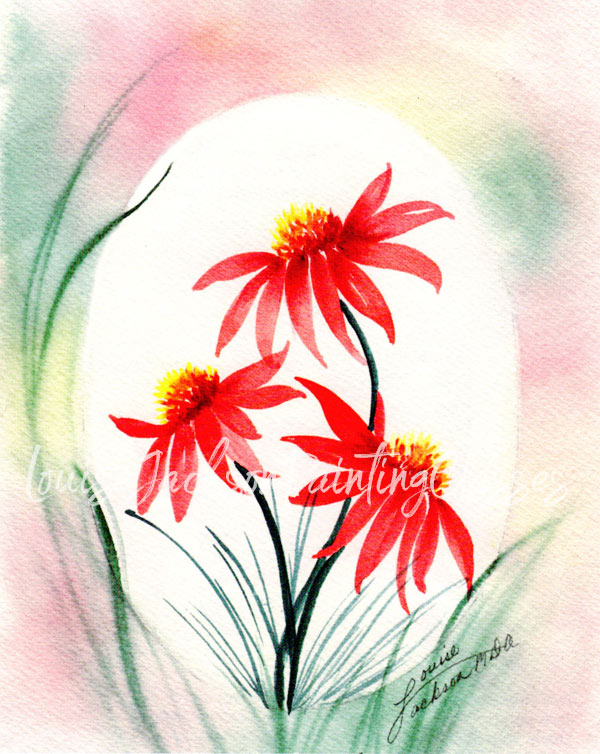stroke flowers watercolor painting with orange-red daisies and an orange, yellow, and green pastel background