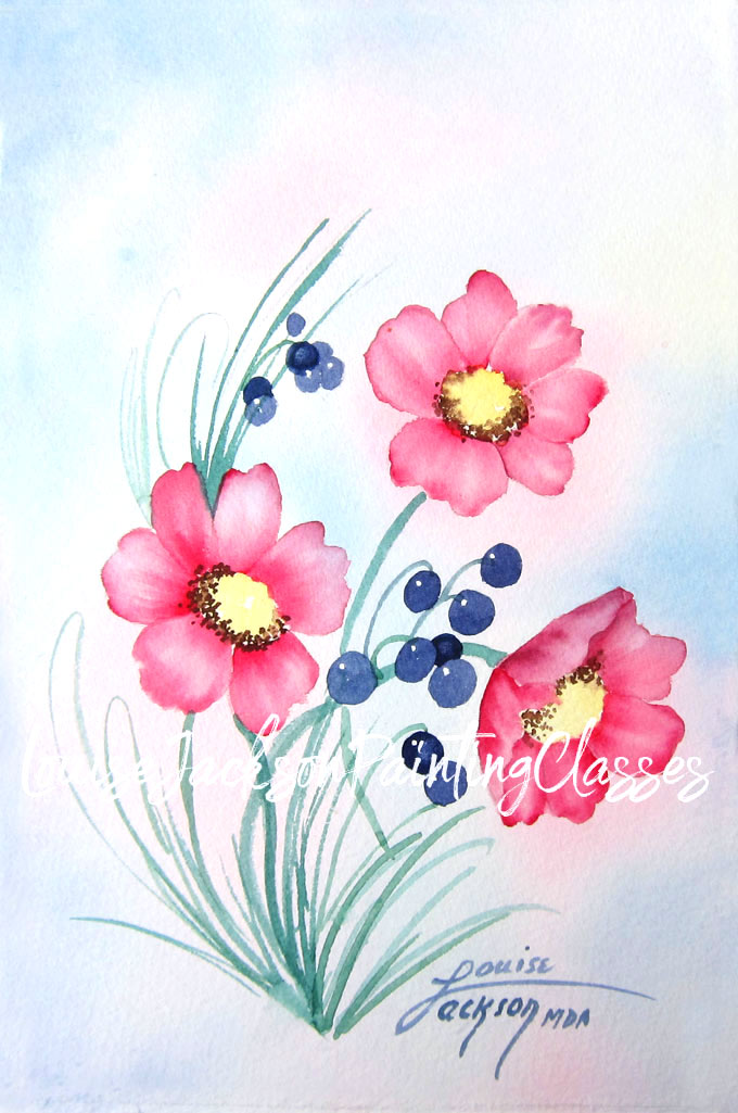 Wild Roses and Berries Watercolor Painting with bright pink flowers and blue berries and a pastel background