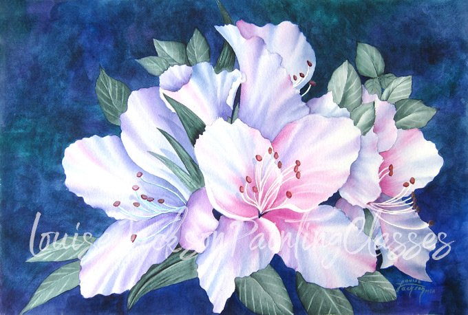 beautiful azaleas watercolor painting image for online painting class