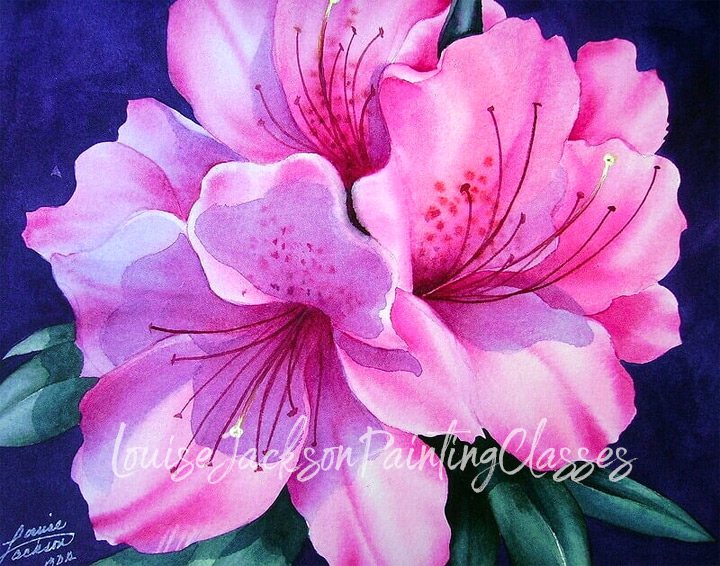 pink azaleas watercolor painting instructions image