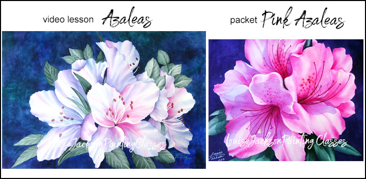 Azaleas video painting lesson plus a Pink Azaleas painting packet