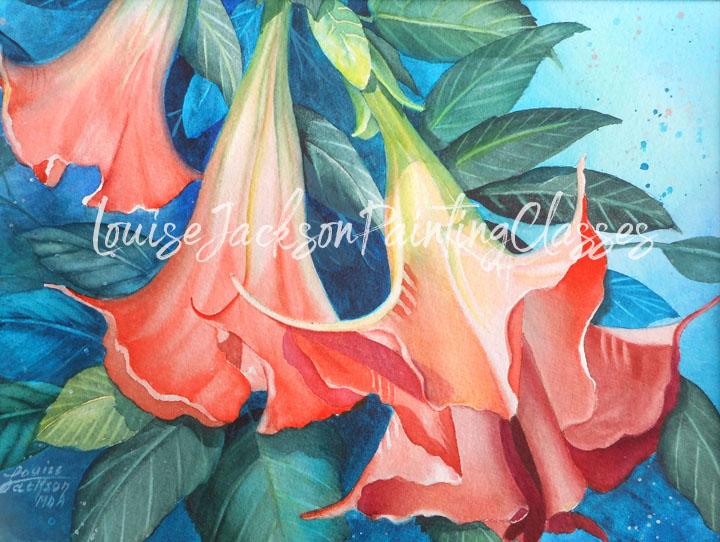 Orange Angel Trumpets Watercolor Painting