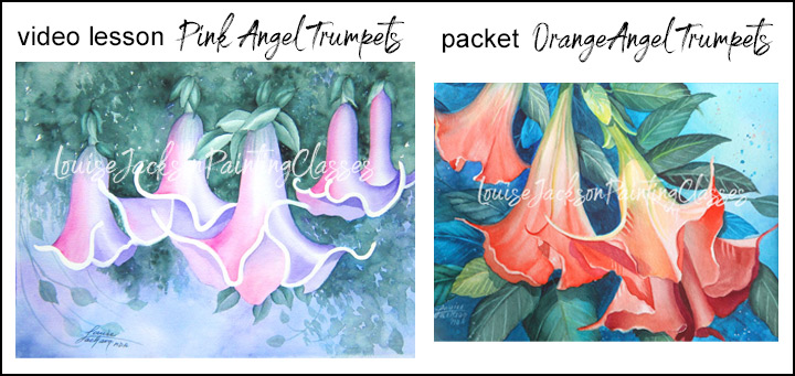 Video Painting Lesson for Pink Angel Trumpets and a Painting Packet for Orange Angel Trumpets