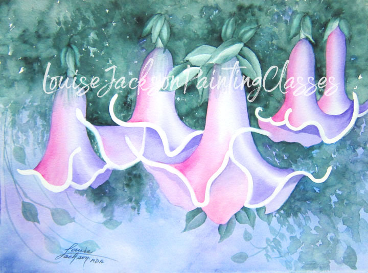 Pink Angel Trumpets Watercolor Painting Class