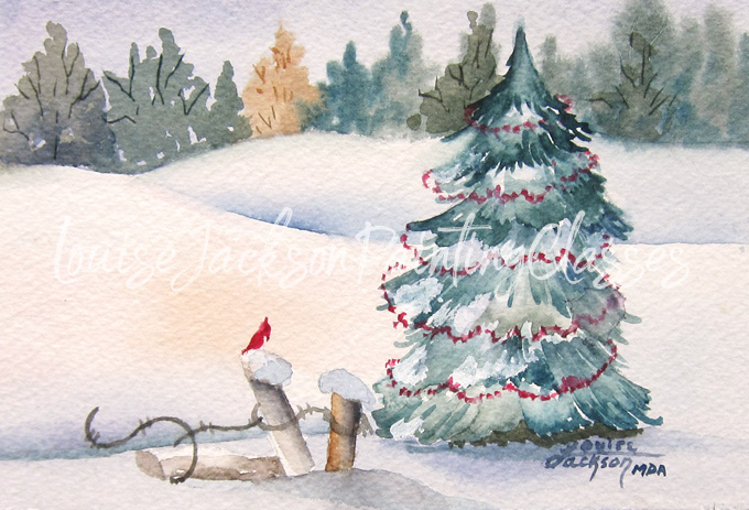 snow scene with pine trees, hills, snow, bird, and fence in watercolors