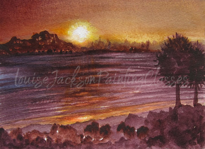 sunset painted using watercolors in deep burgundy and gold