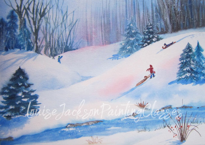 Watercolor painting of kids sledding down hills surrounded by pine trees.
