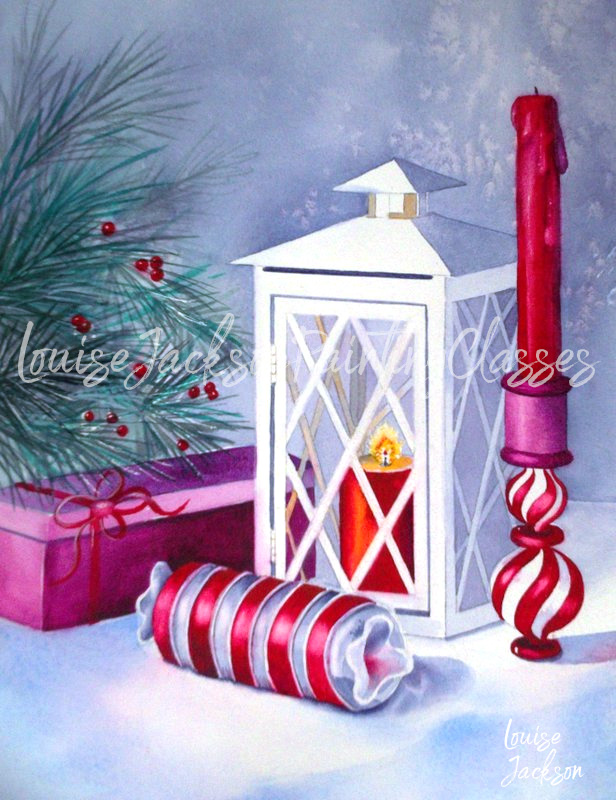 watercolor painting of Christmas tree, ornaments, candle, and a lantern