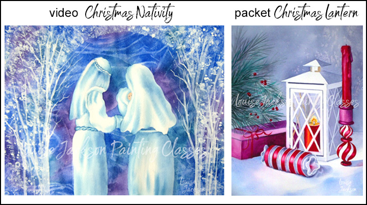 Christmas watercolor paintings featuring a nativity scene and a still life with a Christmas tree, ornament, candle, lantern, and gift