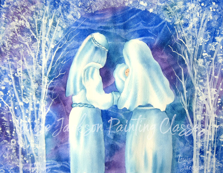 nativity scene with Mary, Joseph, and Jesus painted using watercolors and white acrylic paints